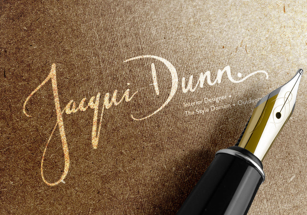 Branding for Jacqui Dunn - full Jacqui Dunn logo in gold ink